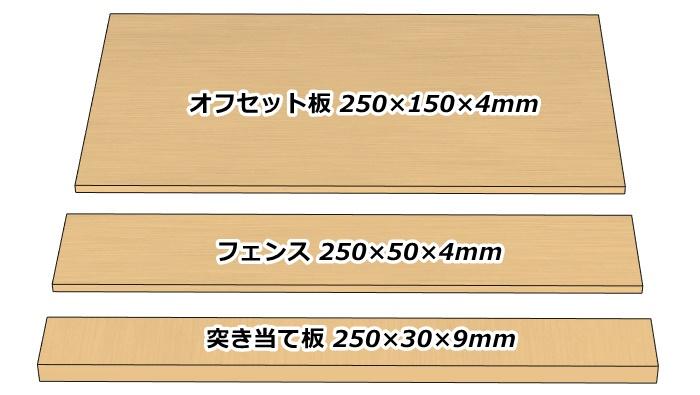 自作する直角定規のオフセット板とフェンスと突き当て板のサイズ